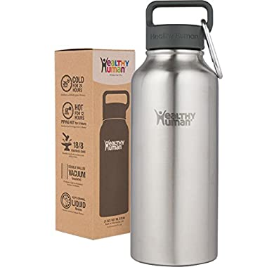 Healthy Human 32 oz Water Bottle - Cold 24 Hrs, Hot 12 Hrs. 4 Sizes & 12 Colors. Double Walled Vacuum Insulated Stainless Steel Thermos Flask with Carabiner & Hydro Guide. Color: Brushed Steel