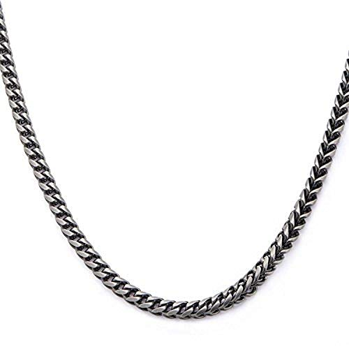 - Hollis Bahringer Men's Stainless Steel Black IP Gun Metal Polished Finish Fox Tail Link Chain Necklace