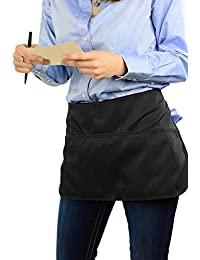 Double sided 3 Pocket Waist Apron with Pen Holder | Waterproof Apron for Severs, Bartenders, Cooking, Crafts - Mato & Hash