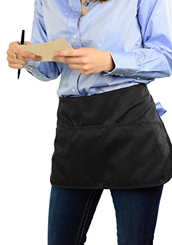 (Double sided 3 Pocket Waist Apron with Pen Holder | Waterproof Apron for Severs, Bartenders, Cooking, Crafts - Mato & Hash - Single)