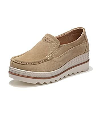 Rainrop Women Platform Slip On Loafers Shoes Comfort Suede Moccasins Fashion Casual Wedge Sneakers 35-42