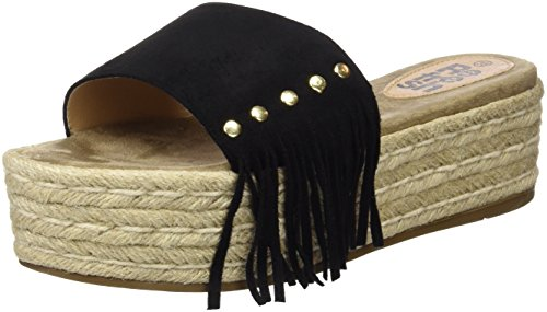 Refresh 063487, Sandalias con Plataforma Plana para Mujer Negro (Black)