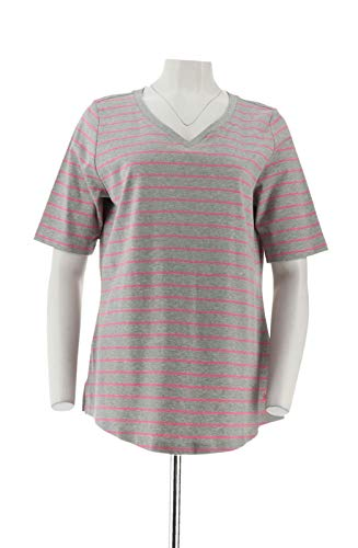 Isaac Mizrahi 2Pc Pima Solid Striped Tops Pink Grey S New A349269 from Isaac Mizrahi Live!