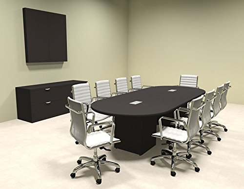 Modern Racetrack Cube Leg 10' Feet Conference Table, OF-CON-CQ3