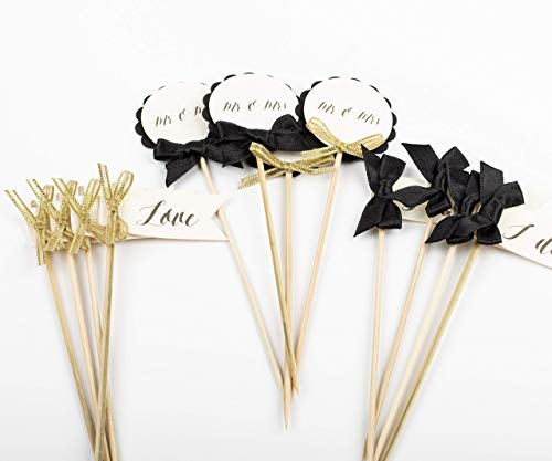 (Black and Gold Engagement Party Decorations Bridal Shower Bachelorette Party Gold Wedding Decor)
