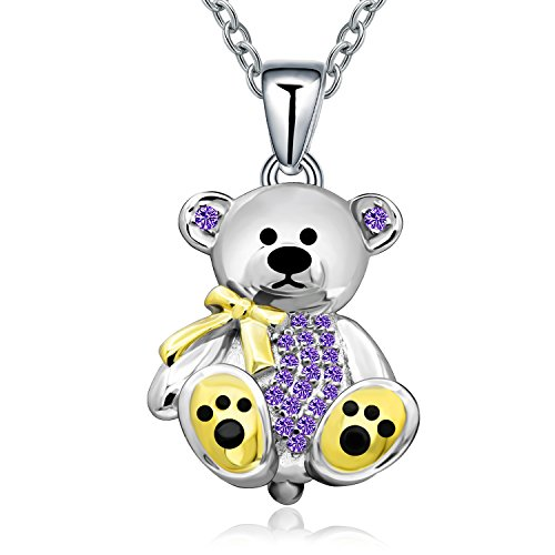 Ribbon 18' Necklace - Sterling Silver Gift Teddy Bear Pendant Necklace Crystal Cute Animal Bear Gift Jewelry Necklace for Women Girl,Birthday, Love,Apology,Party