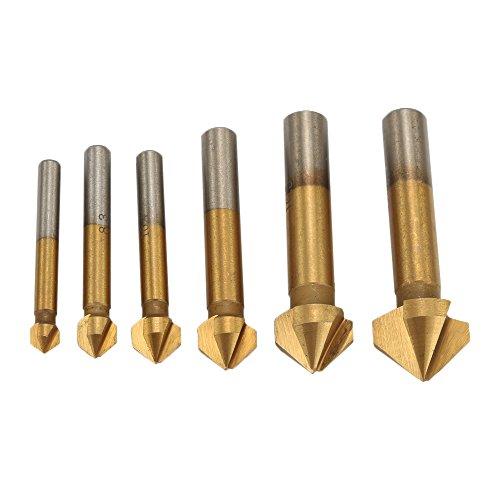 (Breynet 90 Degree Titanium HSS 3 Flute Countersink Drill Bits Set, Chamfer Chamfering Tool End Mill Cutter Drill and Countersink Bit Set of 6 )