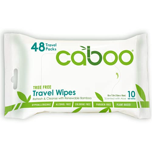 Caboo Tree Free Bamboo Travel Size Wet Wipes, Eco Friendly Baby Wipes for Sensitive Skin, 48 Resealable Peel Tab Travel Packs, 10 Wipes Per Pack, Total of 480 Wipes