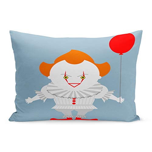 Semtomn Throw Pillow Covers Pennywise Angry Evil Red Haired Clown Balloon King Stephen Crazy Pillow Case Cushion Cover Lumbar Pillowcase Decoration for Couch Sofa Bedding Car 20 x 36 inchs -