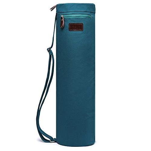Boence Yoga Mat Bag, Full Zip Exercise Yoga Mat Sling Bag with Sturdy Canvas, Smooth Zippers, Adjustable Strap, Large Functional Storage Pockets – Fits Most Size Mats (Dark green)