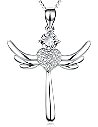 s925 Solid Silver Polished Holy Religious Angel Wing...