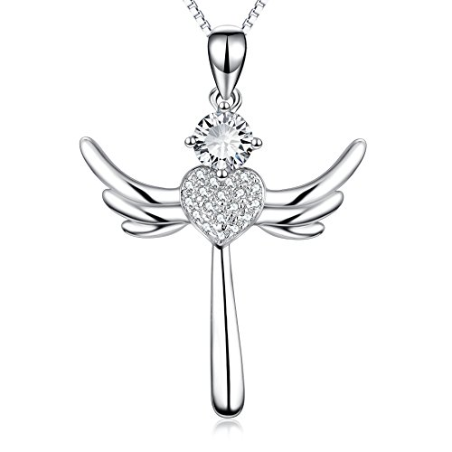 YFN Eternal Love Heart Jewelry 925 Solid Silver Religious Angel Wing Cross Pendant Necklace For - Cross Pendant Eternal Necklace
