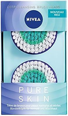 NIVEA Pure Skin Deep Cleansing Cabezal de cepillo facial en pack de 2, accesorio para el cepillo eléctrico facial, limpiador facial para piel normal y mixta: Amazon.es: Belleza