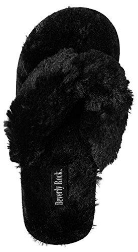 Beverly Rock Womans New Plush Satin Spa Thong Slipper in 4 Beautiful Colors Black ktEGody9U
