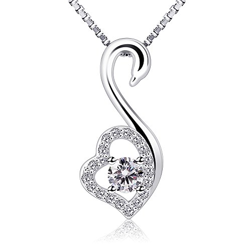 B.Catcher Necklace Women 925 Sterling Silver Pendent Swan-shaped Valentines Gift For Her With Gift Box