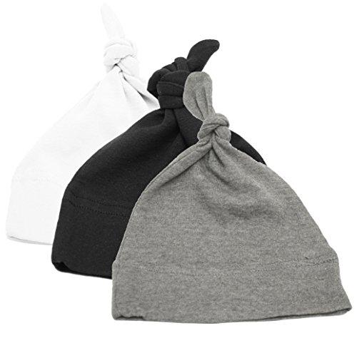 Mato & Hash Unisex Baby 100% Cotton Adjustable Knot Hat 3PK Black/White/HthrGrey