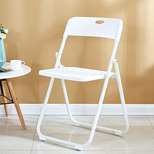 DALL hopfällbar stol vuxen matstol plast säte besökare stol utomhus stålrör datorbord stol konferensstol (färg: Vit, storlek: 1 del)