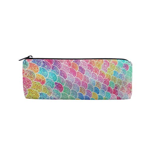 - UNIQUEISME Pencil Bag Pen Case,Canvas Students Stationery Pouch Zipper Bag for Pens, Pencils, Highlighters, Gel Pen, Markers, Eraser and Other School Supplies - Colorful Mermaid Fish Scales