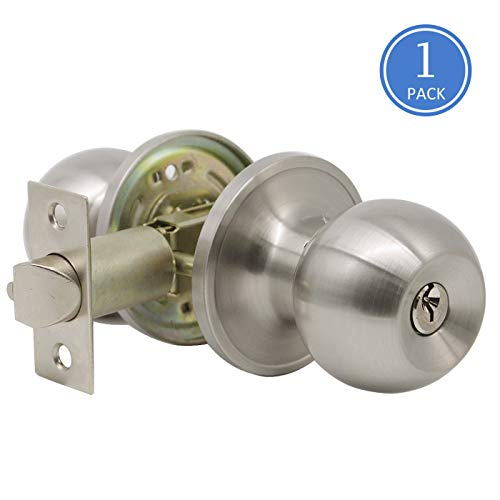 (Entrance Door Knobs Lockset with Keys Exterior Door Sets Brushed Nickel Finish 1)