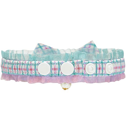 Image of Blueberry Pet 18 Designs Green Plaid Breakaway Bowtie Cat Collar Lace Choker Necklace with Handmade Bow Tie and Pearl Charm, Safety Elastic Stretch Collar for Cats, Neck 8.5