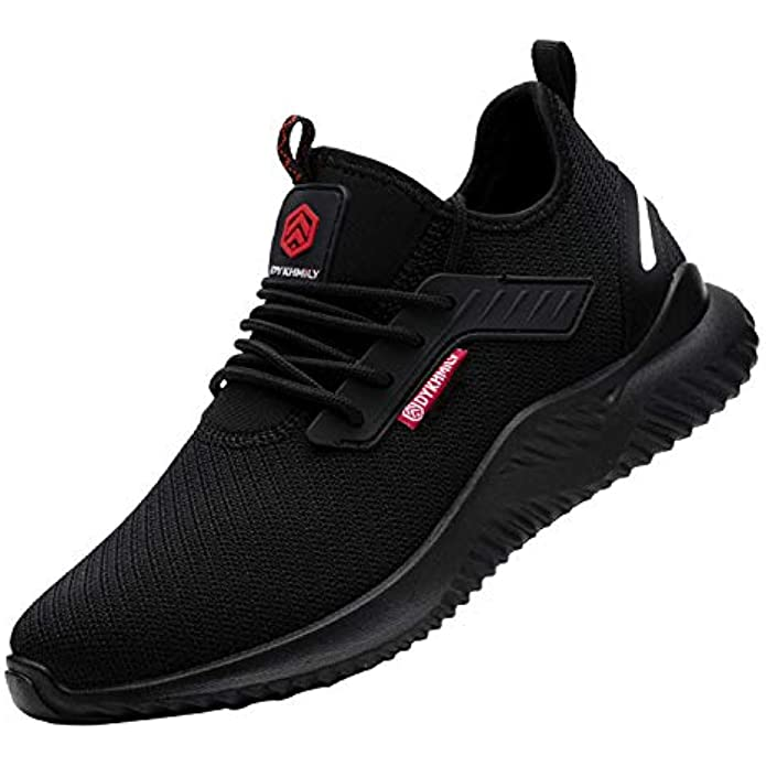 DYKHMILY Steel Toe Shoes for Men Women, Waterproof Work Shoes Slip Resistant Lightweight Safety Sneakers Breathable Puncture Proof Food Service Shoes