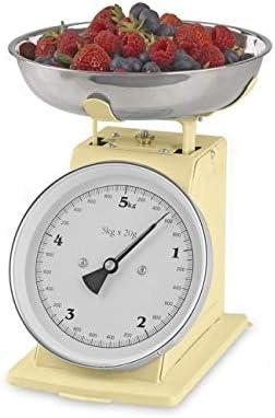 GOURMETmaxx - Báscula de cocina analógica con estilo retro de la escuela antigua, acero inoxidable, vainilla, oc