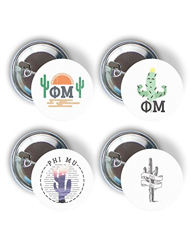 Phi Mu Cactus Desert Variety Pack of Buttons 2.25-inch - Phi Mu Fraternity