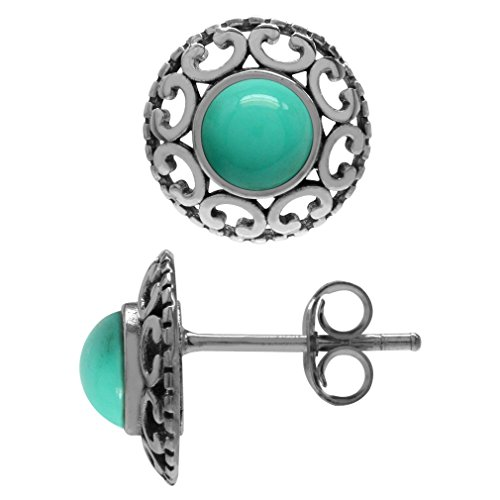 Created Green Turquoise Antique Finish 925 Sterling Silver Filigree Stud/Post Earrings