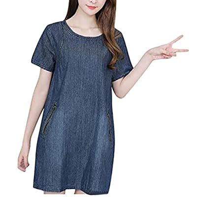 YFancy Dresses for Women Casual Summer Knee Length Denim Loose O-Neck Short Sleeve Dress Comfy Shirt Plus Size Dress