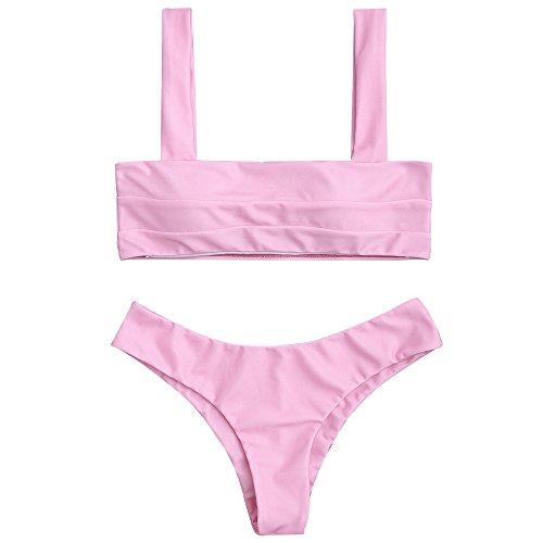 (ZAFUL Women's Wide Straps Padded Solid Two Piece Bandeau Bikini Set Swimsuit (Pink, M))