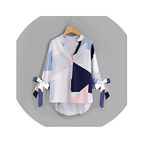 V Neck Patchwork Bow Abstract Geometric Print Blouse Tie Cuff High Low Half Sleeve Top Women's Casual Fall Blouse,Multi,S ()