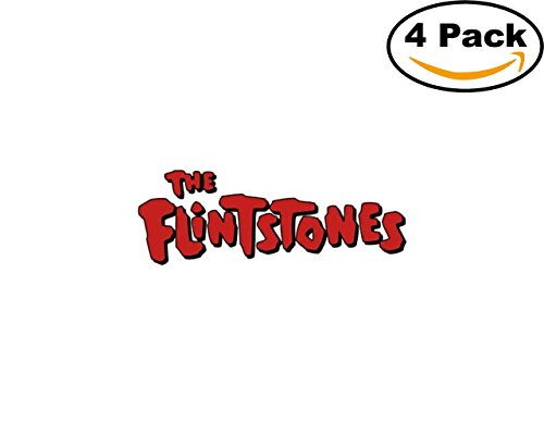 Game The Flintstones Logo 4 Stickers 4X4 Inches Car Bumper Window Sticker Decal