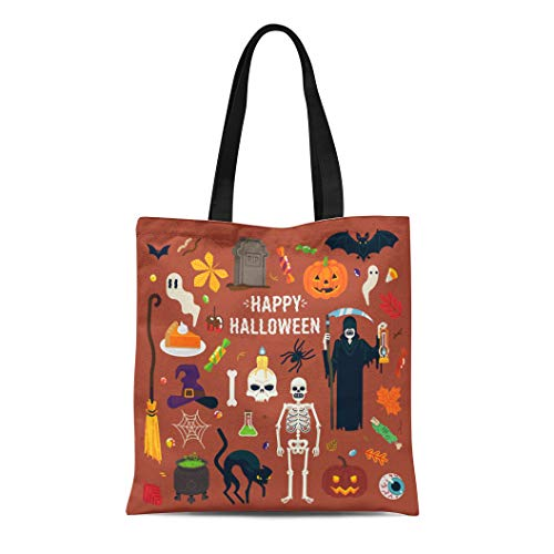 Semtomn Canvas Tote Bag Happy Halloween Spider Ghouls Witch Hat Bat Grim Reaper Durable Reusable Shopping Shoulder Grocery -