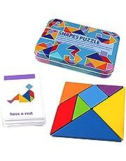 Barn trä resa tangram pussel, Montessori hjärntteaser för barn och vuxna, formpussel 120 mönster bärbar storlek i färgglad låda