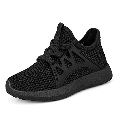 Sunnycree Kids Sneakers Ultra Breathable Mesh Lightweight Athletic Sport Running Tennis Shoes for Boys Girls Black 13