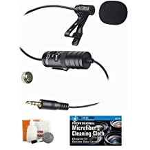 External Lavalier Microphone with 20' audio cable + Accessory Bundle for Canon VIXIA HF R500-R600-R700 HD Video Camcorder