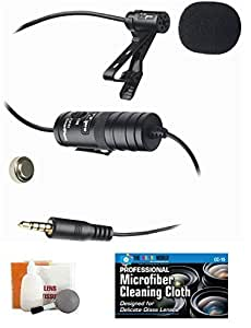 External Lavalier Microphone with 20' audio cable + Accessory Bundle for Canon VIXIA HF R500-R600-R700-R800 HD Video Camcorder