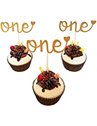 Set of 12 Golden Glitter Cupcake Toppers - One Cupcake Topper Cupcake, For Lovely Baby First Birthday, Baby Shower Decoration