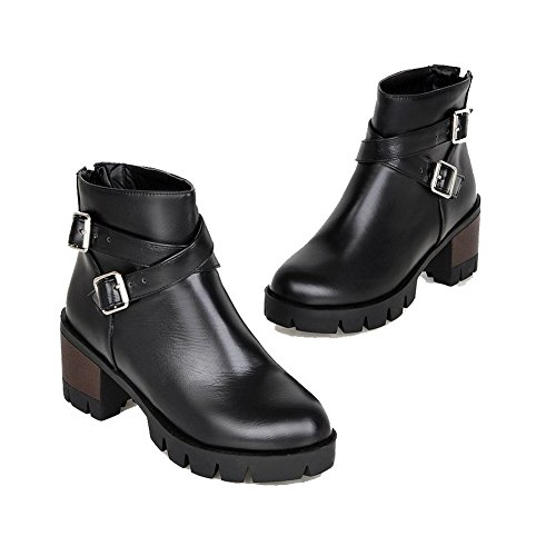 Material Kitten Soft Closed Heels Black Round Toe Women's Boots Allhqfashion Solid Zipper 0OfqwnHw8