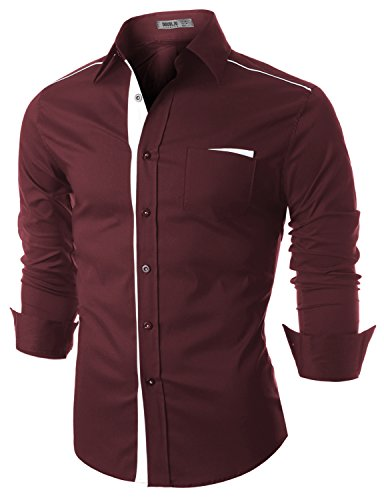 Doublju Mens Casual Trimmed Button-down Dress Shirts, Winewhite, M