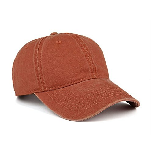 VANCIC Low Profile Washed Brushed Twill Cotton Adjustable Baseball Cap Dad Hat for Men Women (Orange) (Orange Fitted Cap)