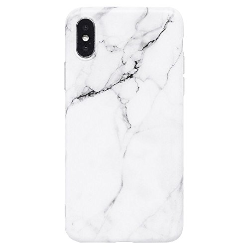 iPhone X Case, White & Grey Marble Pattern Design, Slim Fit Clear Bumper Soft TPU Full-Body Protective Cover Case for Apple iPhone X 5.8 (White Marble)