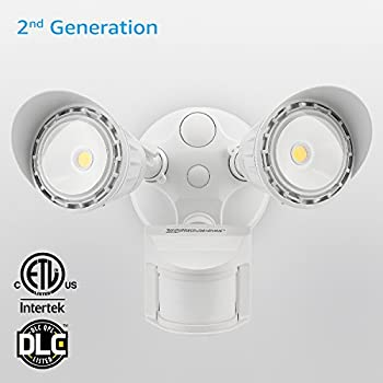 Dual-Head Motion-Activated LED Outdoor Security Light, Waterproof, Photocell Included, Newly Added DIM Mode, 5000K Daylight, 20W (150W Halogen Equiv.) Area Lighting for Yard, Garage, Porch, White