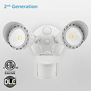 Dual-Head Motion-Activated LED Outdoor Security Light, Waterproof, Photocell Included, Newly Added DIM Mode, 5000K Daylight, 25W (200W Halogen Equiv.) Area Lighting for Yard, Garage, Porch, White