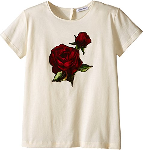 Dolce & Gabbana Kids Girl's Jersey T-Shirt w/Applique Rose (Big Kids) White 10 (Big Kids) by Dolce & Gabbana