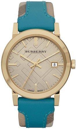 腕時計 バーバリー Burberry BU9018 Women's Swiss Haymarket Check Fabric and Turquoise Lether Band Watch【並行輸入品】 B00DE4KY8M