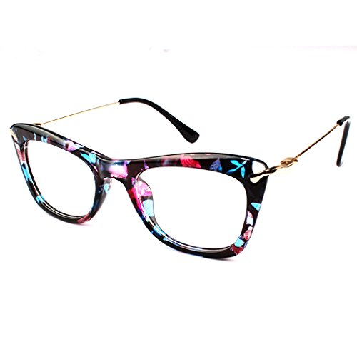 TIJN Cat Eye Acetate Eyeglasses Frames with Metal Arms for Women