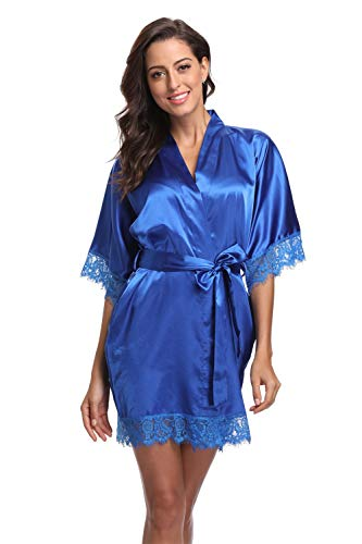Original Kimono Women's Lace-Trimmed Satin Short Kimono Robe Bathrobe Loungewear Royal Blue L