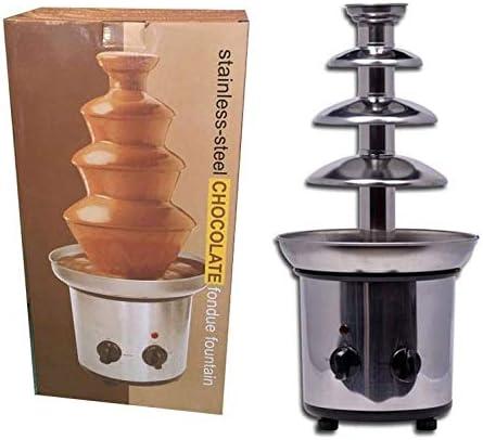 L&B-MR Fuente Chocolate Fondue Chocolate De con Torre De Acero Inoxidable Look Retro Vintage | Ideal para Fiestas De Niños Y Bodas: Amazon.es