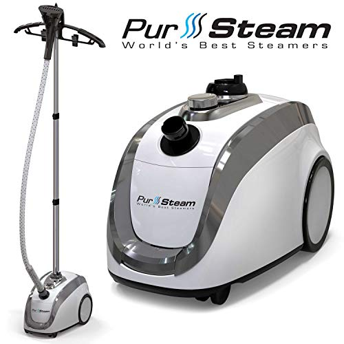 PurSteam - 2019 Official Partner of Fashion - Full Size Steamer for Clothes, Garments, Fabric - Professional Heavy Duty - 4 Steam Levels Producing Perfect Continuous Steam